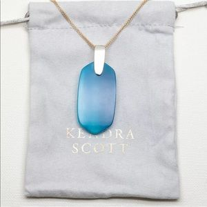 Kendra Scott Inez Gold Necklace Teal Agate